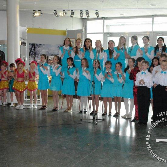 Детские коллективы г. Калуги выступают на открытии выставки «Космические юбилеи в творчестве юных калужан»