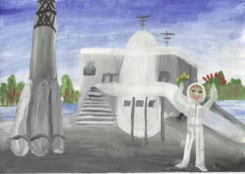 Рисунок Оли Москаленко, заложенный в капсулу с посланием потомкам