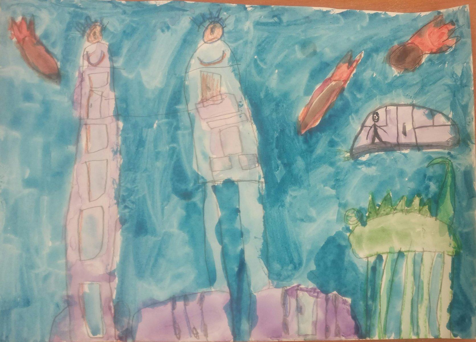Баландюк Максим, 6 лет. Гуляющие дома будущего