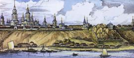панорама города Вятки. XIX век.