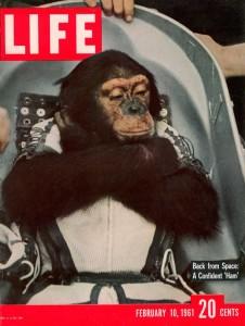 "Шимпанзе Хэм. 10 февраля 1961 г. Обложка журнала ""Life"""