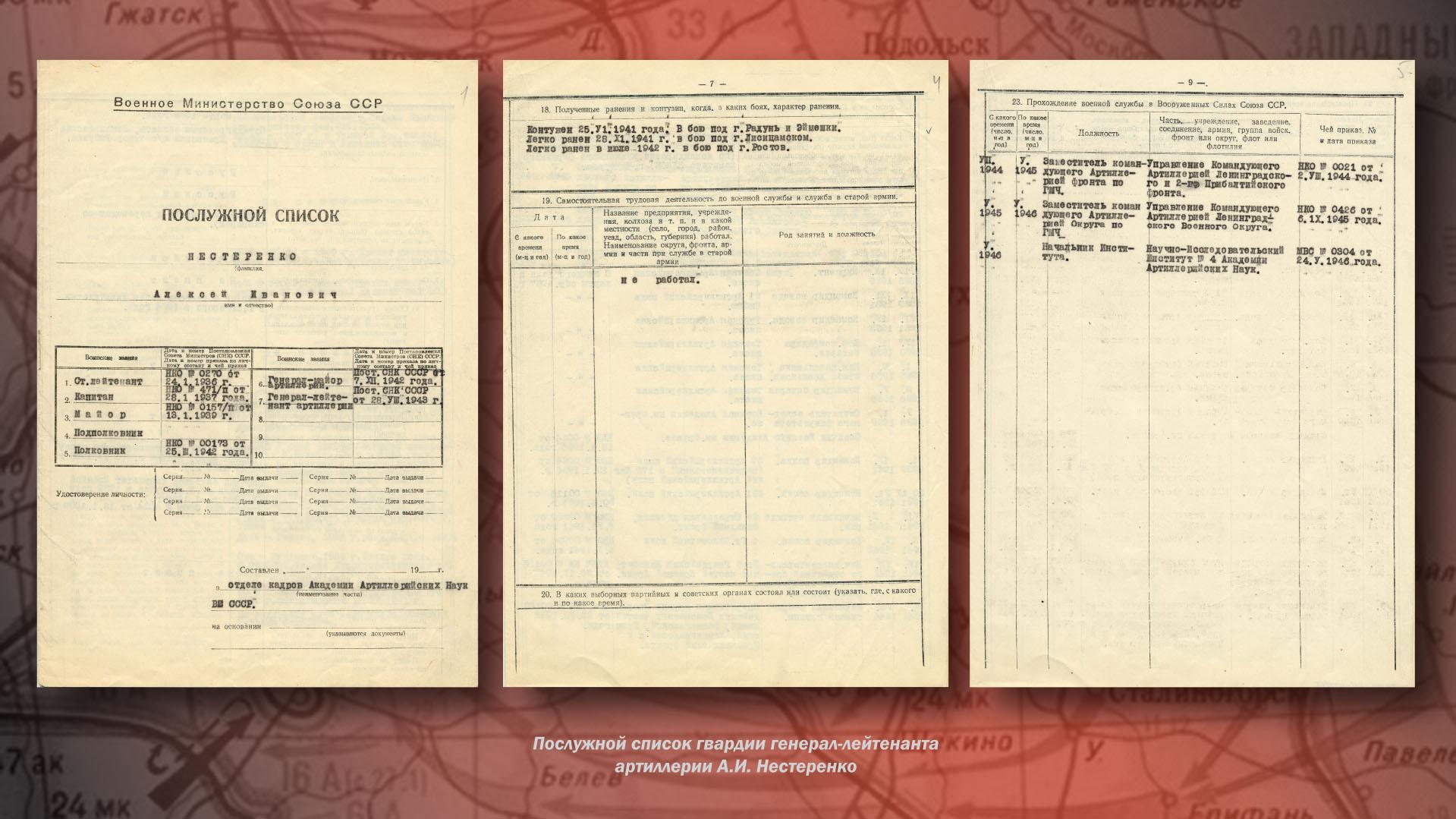 Послужной список гвардии генерал-лейтенанта артиллерии А.И. Нестеренко