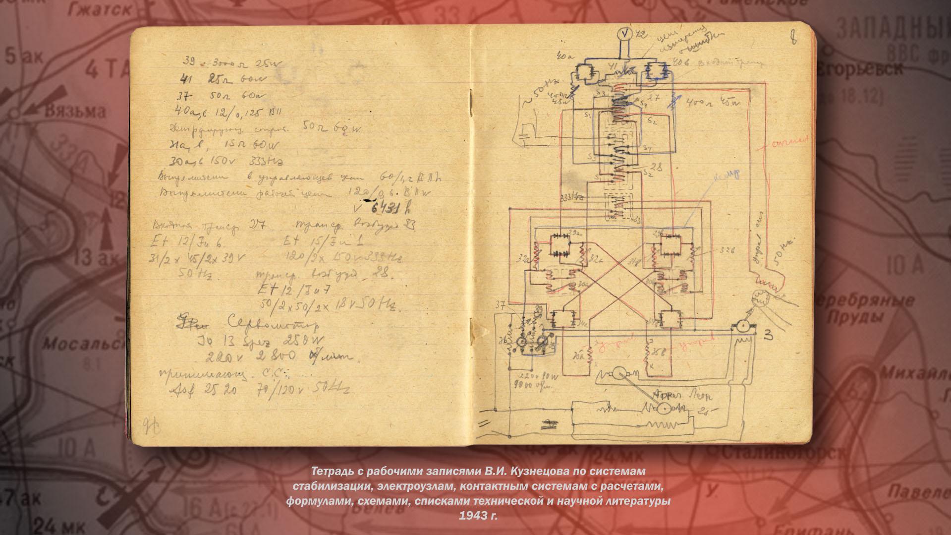 Тетрадь с рабочими записями В.И. Кузнецова