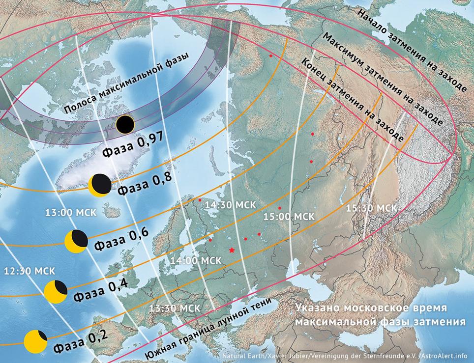 Обстоятельства затмения 10 июня 2021 года над территорией Евразии